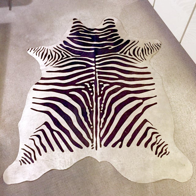Zebra Stenciled Black Ivory Hide Rug - 6'10 X 5'7 - Image 2 of 9