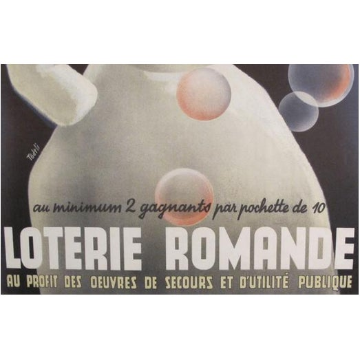 Mid-Century Modern 1940s Original Swiss French Poster - Loterie Romande For Sale - Image 3 of 4