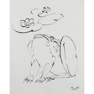 Curious Frog Drawing 1980s Ink For Sale
