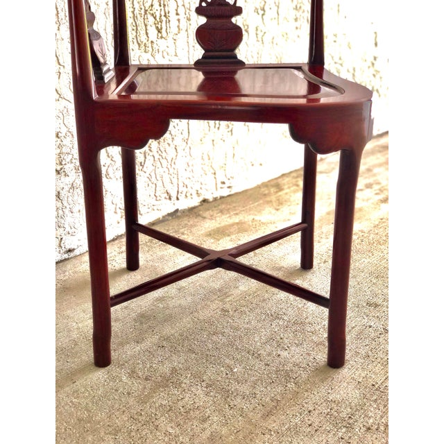 Hand Carved Rosewood Oriental Corner Chair For Sale - Image 10 of 13