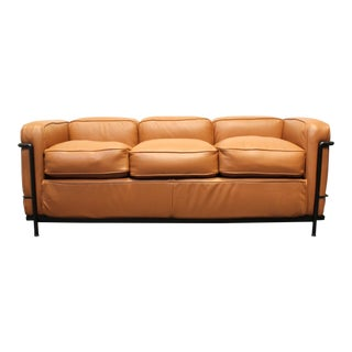 Le Corbusier for Cassina Lc2 3 Seat Sofa in Brown Leather For Sale