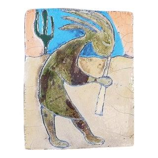 "Charming Vintage ""Kokopelli"" Glazed & Painted Ceramic Tile For Sale"