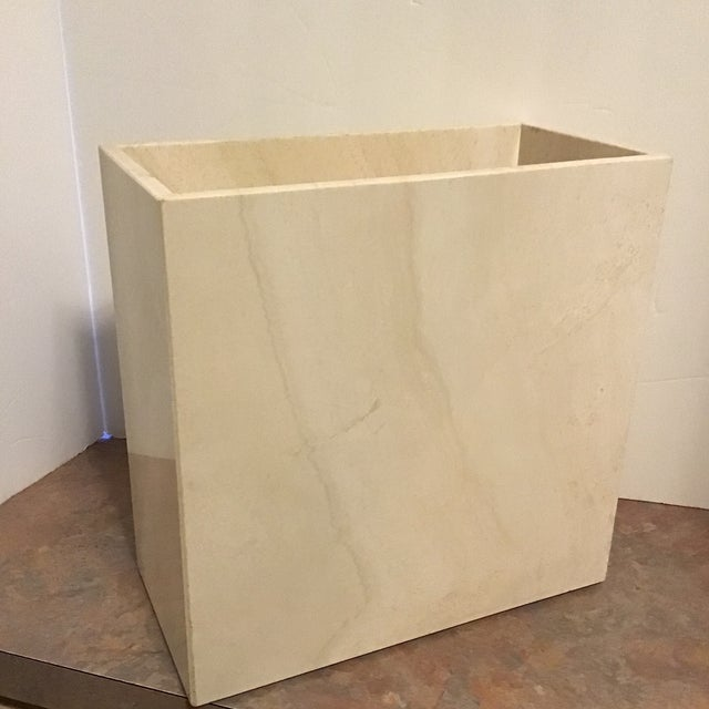 Danish Modern 20th Century Maitland Smith Tessellated Marble Stone Waste Basket For Sale - Image 3 of 6