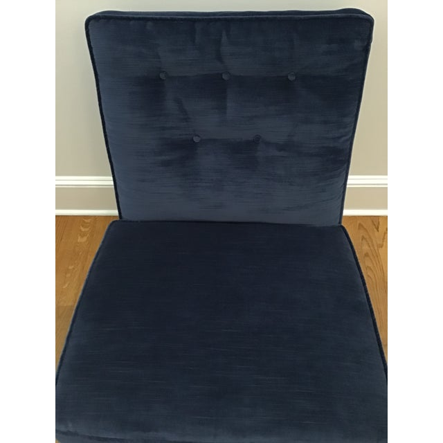 1960's Mid-Century Navy Velvet Slipper Lounge Chairs- A Pair For Sale - Image 9 of 13