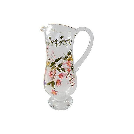Vintage Hand Painted Floral Glass Pitcher - Image 1 of 5