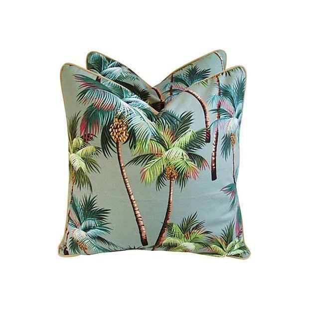Custom Oasis Palm Tree Barkcloth Pillows- a Pair - Image 7 of 7