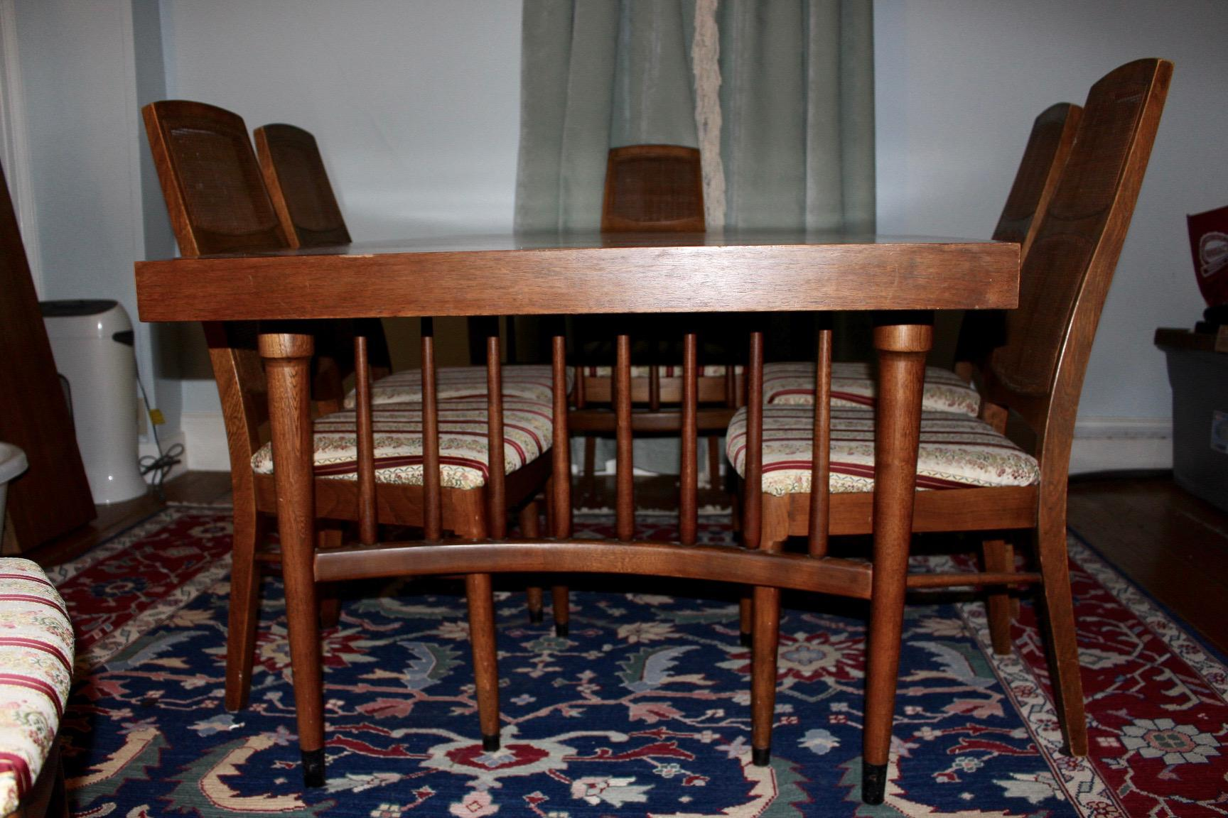 Mid Century Modern Expandable Dining Table With 6 Cane Back Chairs