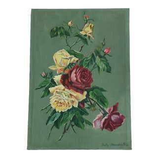Vintage Still Life Rose Painting