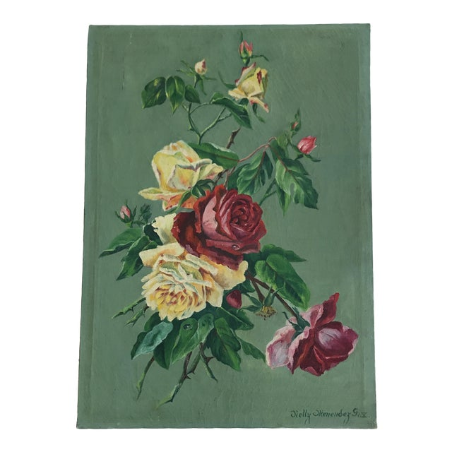 Vintage Still Life Rose Painting - Image 1 of 8