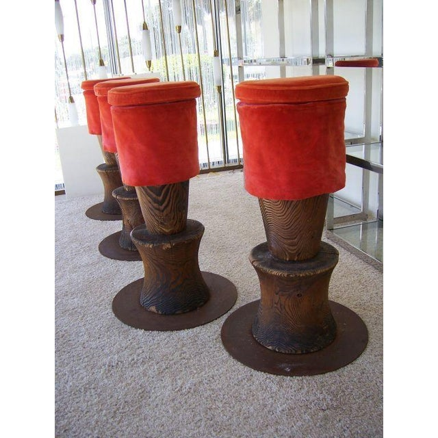 Mid-Century Modern Andrée Putman Wood Totem Barstools - Set of 4 For Sale - Image 3 of 5