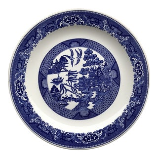 1940s Vintage Large Blue & White Willow Plate For Sale