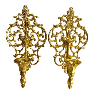 Vintage Victorian Metal Wall Sconces - A Pair For Sale