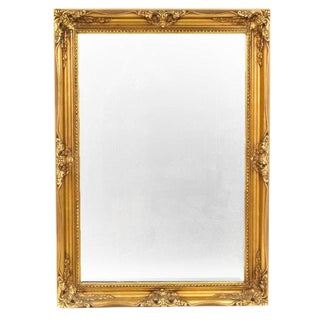 French Empire Hollywood Regency Gold Gilt Framed Wall Mirror For Sale
