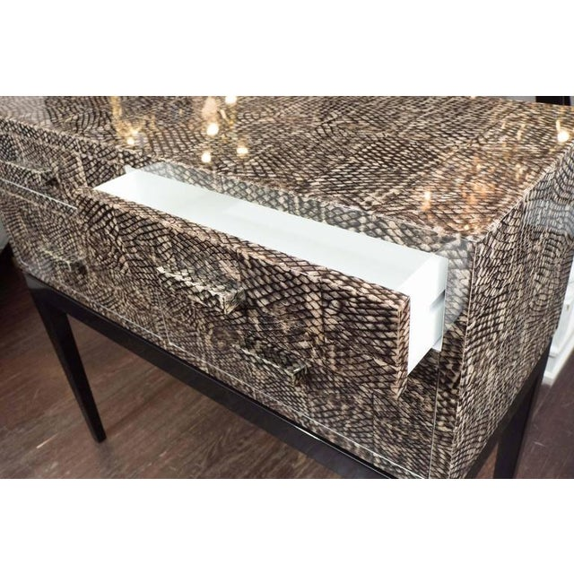 Tan Golden Fish Skin Veneer Console Table For Sale - Image 8 of 9