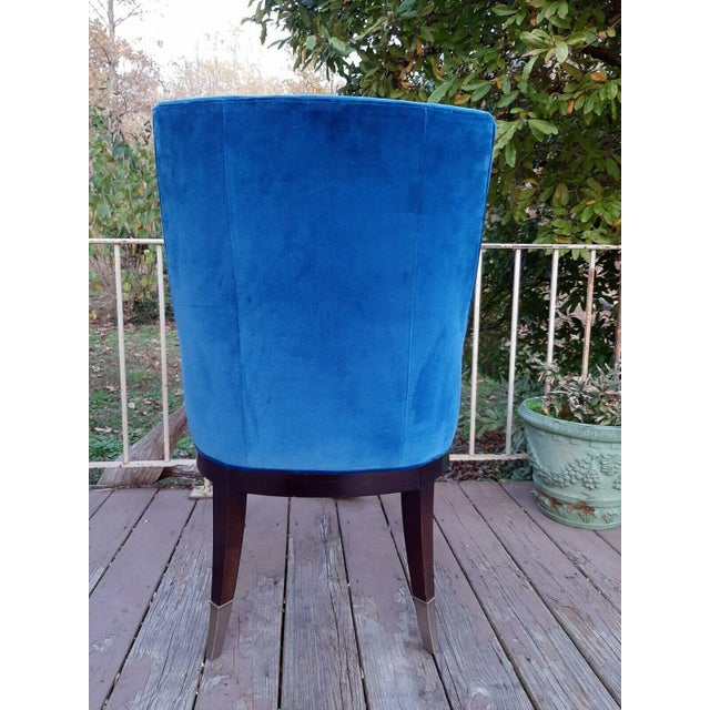 """2020s Caracole """"You'Re Invited"""" Blue and White Upholstered Side Chair For Sale - Image 5 of 13"""