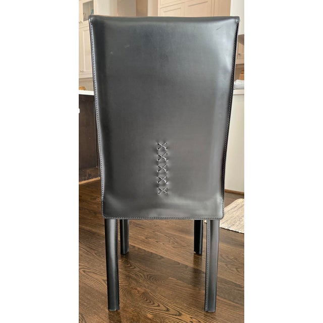 Arper Modern Italian Black Leather Dining Chairs by Arper-Set of 4 For Sale - Image 4 of 7
