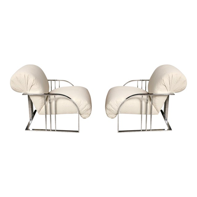 Pair of Chrome Armchairs by Milo Baughman for Thayer Coggin For Sale