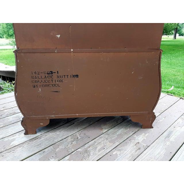Vintage Drexel Wallace Nutting Bombe Kettle Base Blind Door Secretary Desk For Sale - Image 11 of 13