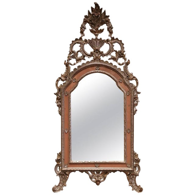 Mid-20th Century, Italian Carved Silver Leaf Mirror With Painted Coral Trim For Sale