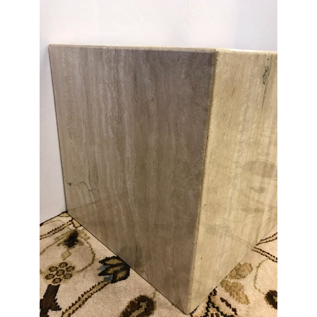 1970s Pair of Midcentury Travertine Cube End Table Stools Italy For Sale - Image 5 of 7