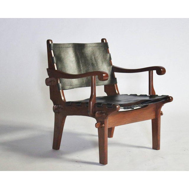 Wood Pair of Angel Pazmino Rosewood and Leather Sling Armchairs - a Pair For Sale - Image 7 of 10