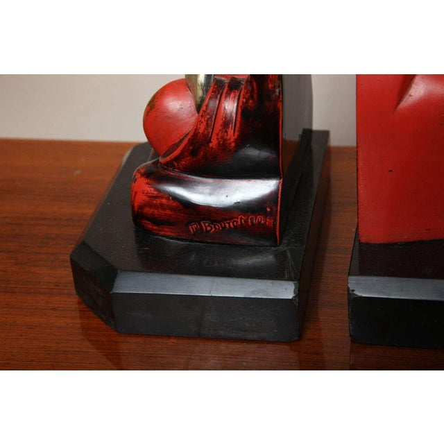 Beautiful Pair of Art Deco Cubist Bookends by Bouret For Sale - Image 4 of 10