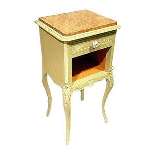 French Painted Marble Nightstand
