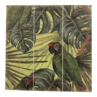French Green Parrot Triptych Panel For Sale