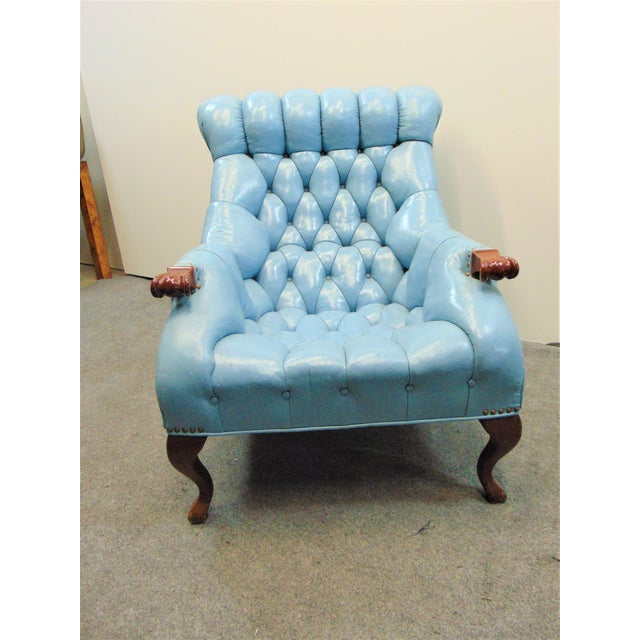 Late 20th Century Chesterfeild Light Blue Leather Lounge Chair & Ottoman For Sale - Image 5 of 8