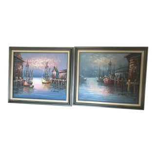 Vintage 1970's Nautical Harbor Signed Paintings - a Pair For Sale