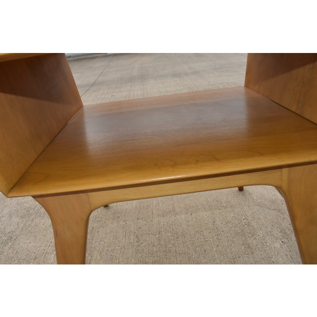 Tan 1950s Mid Century Modern Heywood Wakefield Side Table For Sale - Image 8 of 11