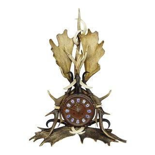 A Great Lodge Style Antler Mantel Clock 1900 For Sale
