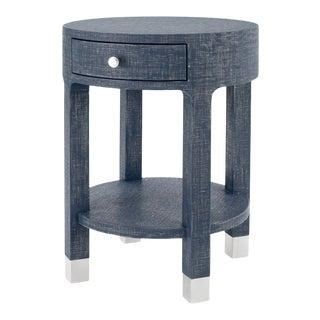 Bungalow 5 Dakota 1-Drawer Side Table, Navy Blue Washed Linen Finish For Sale