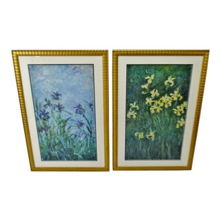 Vintage Large Framed Claude Monet Blue & Yellow Iris Prints - a Pair For Sale