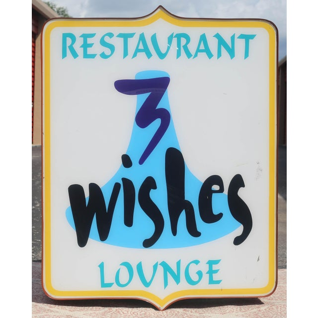A working, vintage metal and plexiglass commercial sign from the 3 Wishes Restaurant and Lounge in Cocoa Beach, FL. Good...
