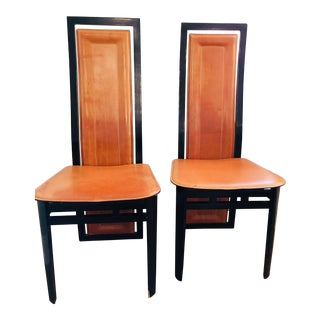 Art Deco Inspired Roche Bubois Leather and Lacquer Dining Chairs - a Pair
