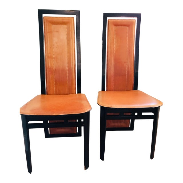 Art Deco Inspired Roche Bubois Leather and Lacquer Dining Chairs - a Pair For Sale