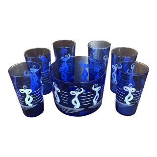 Vintage Hazel Atlas Blue Ice Bucket and Glassware - 7 Pc. Set For Sale