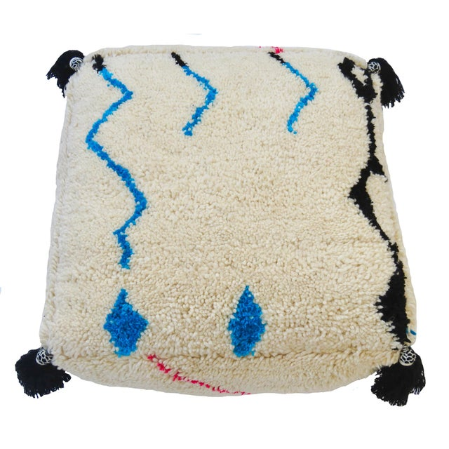 Oversized Moroccan pouf made from a handwoven Beni Ourain rug with soft hand spun wool in an abstract Berber design. New...
