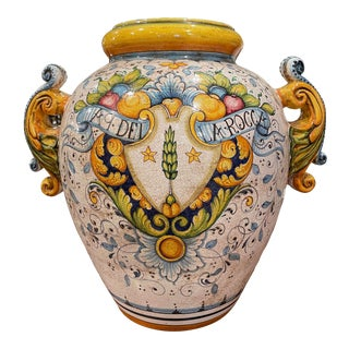 Mid-20th Century Italian Hand Painted Ceramic Cache Pot With Crest Motifs For Sale