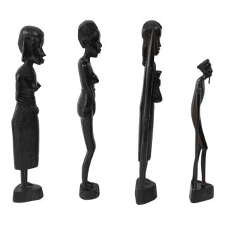 Decorative Hand-Carved African Set of Four Statues From Kenya - Set of 4 For Sale