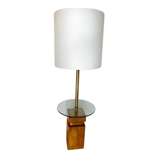 Vintage Late 20th Century Teak and Brass Table and Floor Lamp For Sale