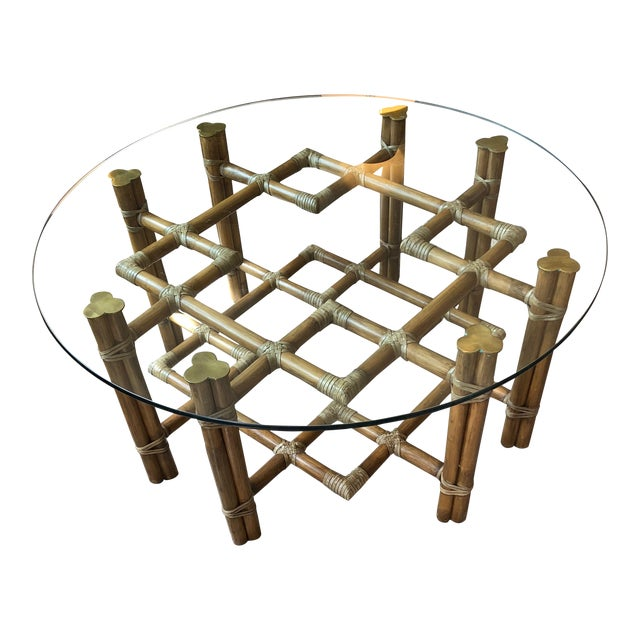 1990s Boho Chic McGuire Round Rattan Coffee Table With Glass Top For Sale