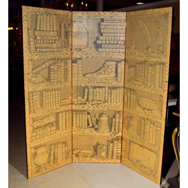 "Fornasetti style three-panel folding screen with papier decoration. Each Panel is 24"" wide."
