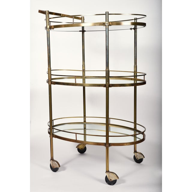Brass Vintage Three-Tiered Mirrored Shelves Wheeled Bar Cart For Sale - Image 7 of 7