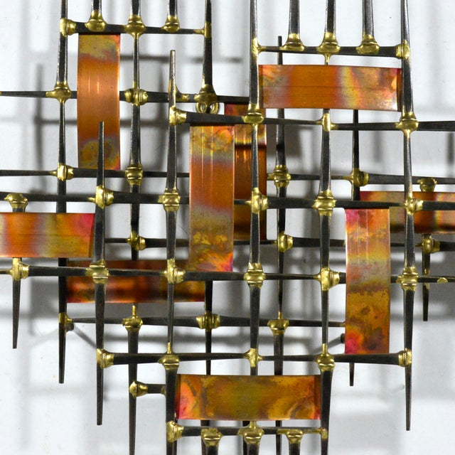 Abstract Abstract Wall Sculpture in Iron, Bronze & Copper For Sale - Image 3 of 9