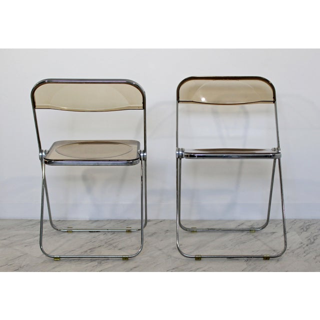Silver 1960s Castelli Mid Century Modern Smoked Lucite Folding Chairs Italy - Set of 10 For Sale - Image 8 of 12