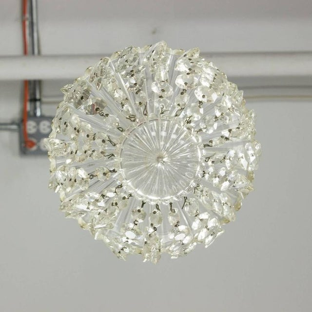 1940s French Crystal and Glass Pendant Ceiling Fixture - Image 7 of 11