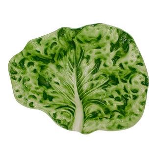 Large Ceramic Green Cabbage Leaf Serving Bowl For Sale