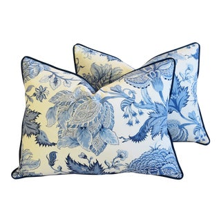 "Italian Scalamandré Blue & White Floral Paradise Feather/Down Pillows 24"" X 18"" - Pair For Sale"
